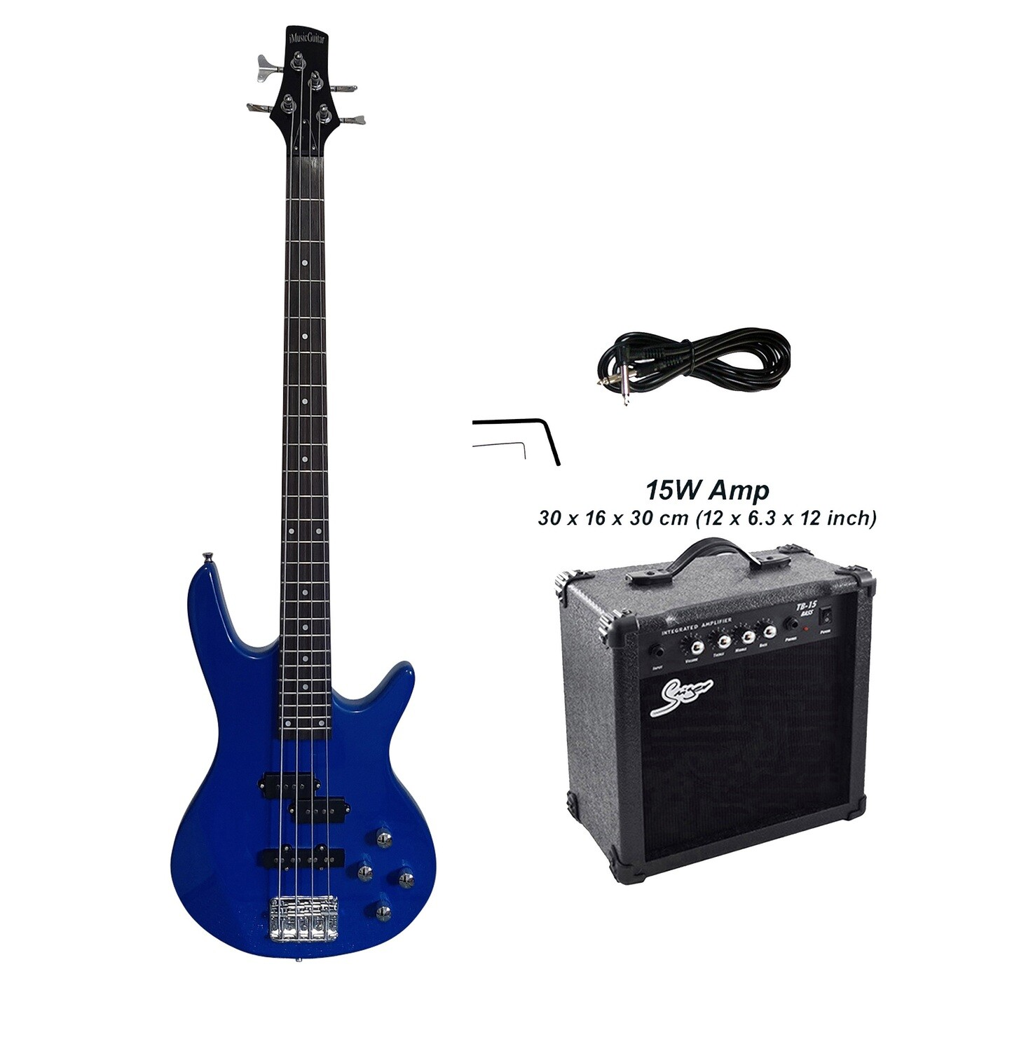 Bass Guitar 4 String Blue iMusicGuitar iMEB886PKT with 15W Amp Package