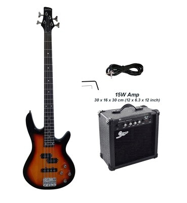 Bass Guitar 4 String Sunburst iMusicGuitar iMEB887PKT with 15W Amp Package