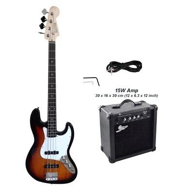 Bass Guitar 4 String Jazz Sunburst iMusicGuitar iMEB891PKT 15W Amp Package