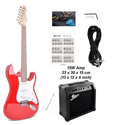 Electric Guitar 15W amp ST Style full size for beginners Red iMEG283AP iMusicGuitar