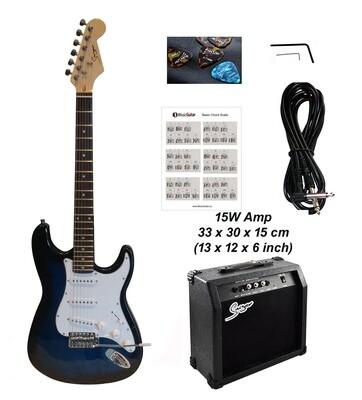 Electric Guitar 15W amp ST Style full size for beginners Dark Blue Stripe iMEG285AP iMusicGuitar