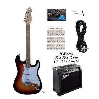 Electric Guitar 15W amp ST Style full size for beginners Sunburst iMEG280MPAP iMusicGuitar