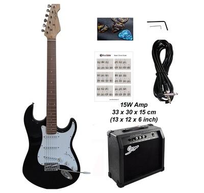 Electric Guitar 15W amp ST Style full size for beginners Black iMEG289AP iMusicGuitar