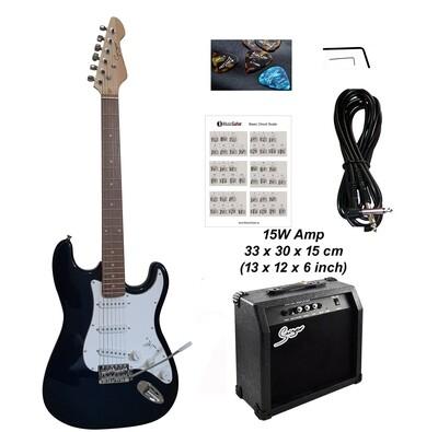 Electric Guitar 15W amp ST Style full size for beginners Plain Dark Blue iMEG287AP iMusicGuitar