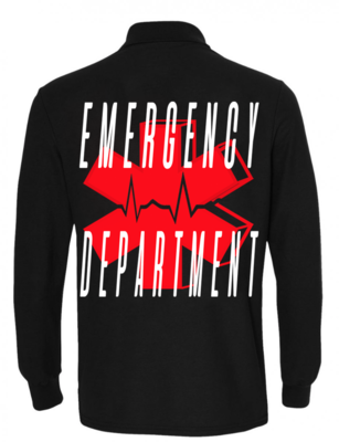 ER unisex black long sleeve polo
