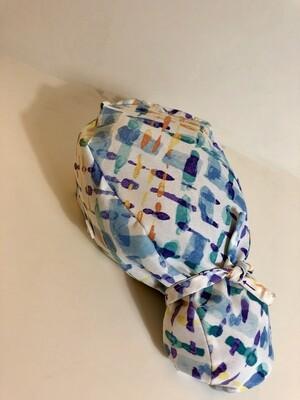 Blue Water color Ponytail Scrub Cap