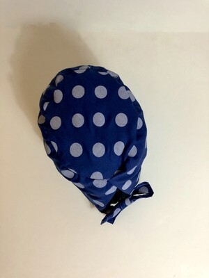 Blue white polka dot Ponytail Scrub Cap