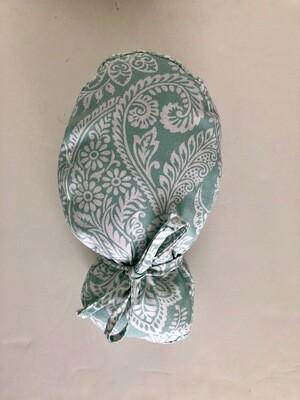 Green pattern ponytail Scrub cap