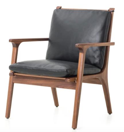 STELLAR WORKS Rén Lounge Chair high Nussbaum und schwarzes Leder