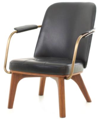 STELLAR WORKS Utility Lounge ChairNussbaum, scharzes Leder