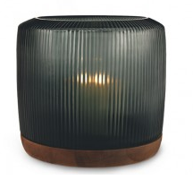 GUAXS San Francisco Lantern XL glass dark indigo/base walnut