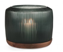 GUAXS San Francisco Lantern L glass dark indigo/base walnut