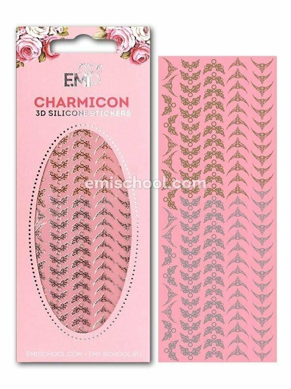 Charmicon 3D Silicone Stickers Lunula #19, Gold/Silver