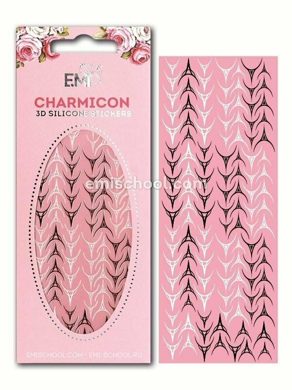 Charmicon 3D Silicone Stickers Lunula #30, Black/White