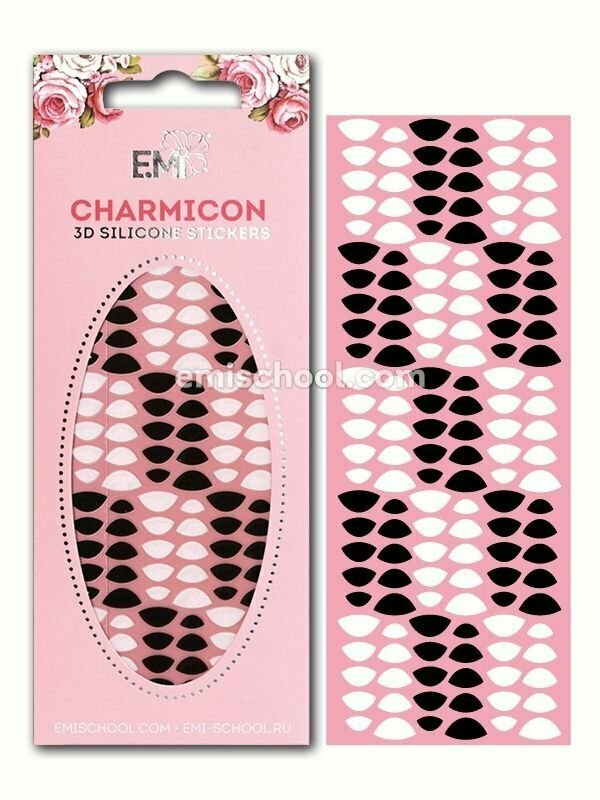 Charmicon 3D Silicone Stickers Lunula #8, Black/White
