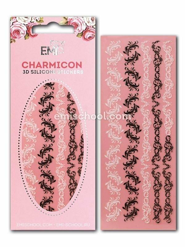 Charmicon 3D Silicone Stickers Swirls #3, Black/White