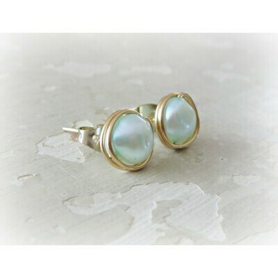 Blue freshwater pearl earrings in gold