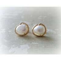 Gold wrapped fresh water pearl stud earrings