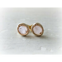 Give some love, Gold Rose Quartz Stud Earrings