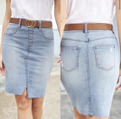 Spanx pull on denim skirt
