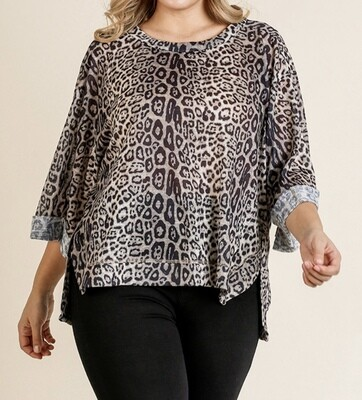 Animal Print, Rolled Sleeve Top