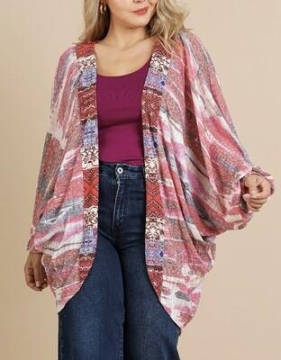 Print Dolman Sleeve Kimono