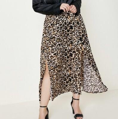Leopard Slit Skirt