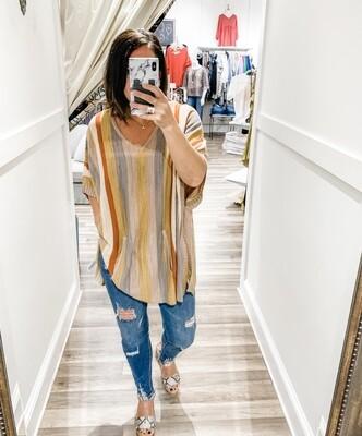 Striped, Oversized Tunic Sweater
