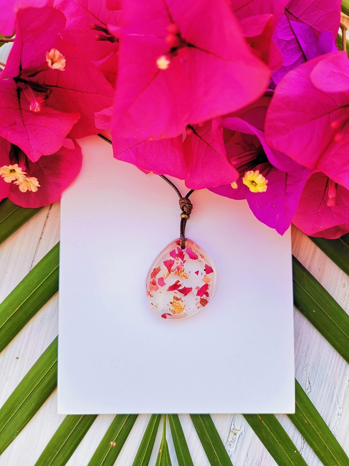 Bogainvillea and Gold Leaf Necklace