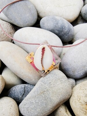 Cowrie Shell, Bougainvillea and Gold Leaf Necklace
