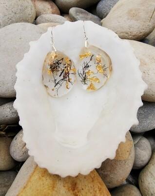 Seaweed and Gold Leaf Earrings