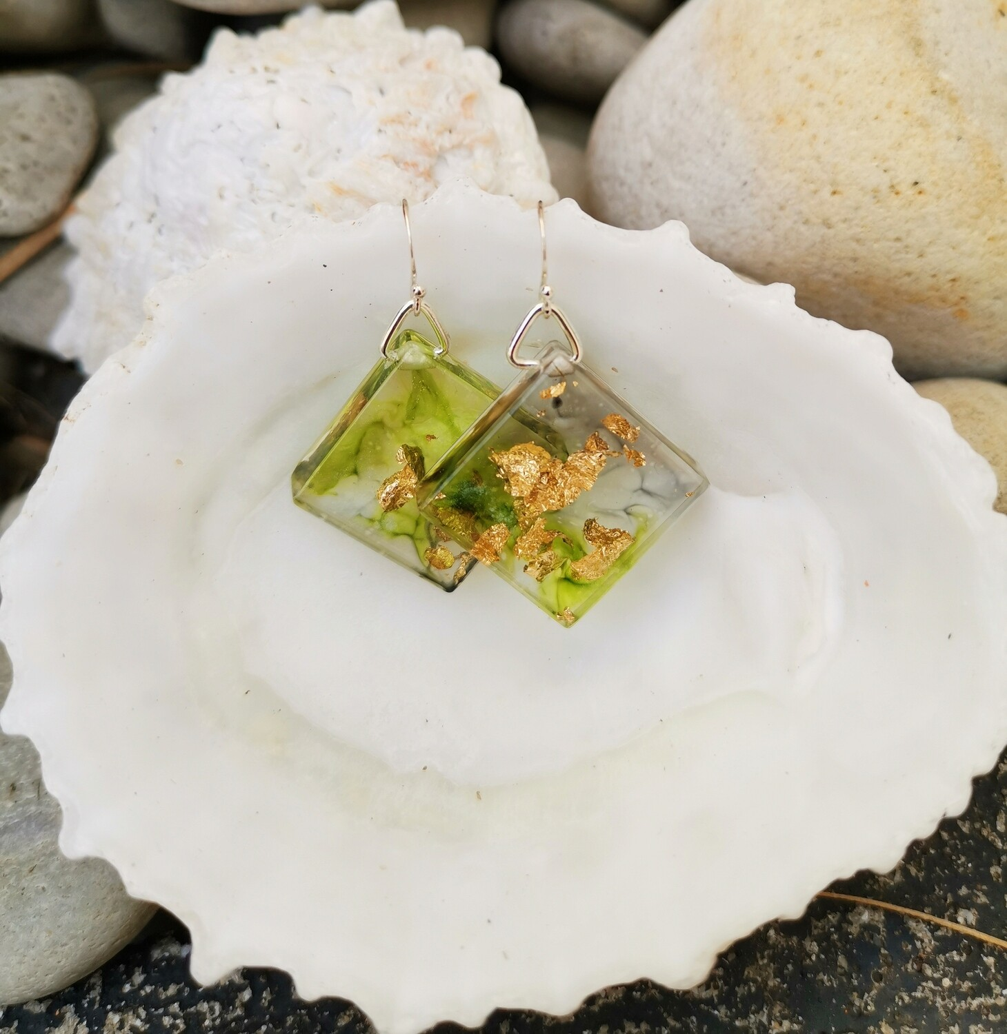 Green ink and Gold Leaf Earrings