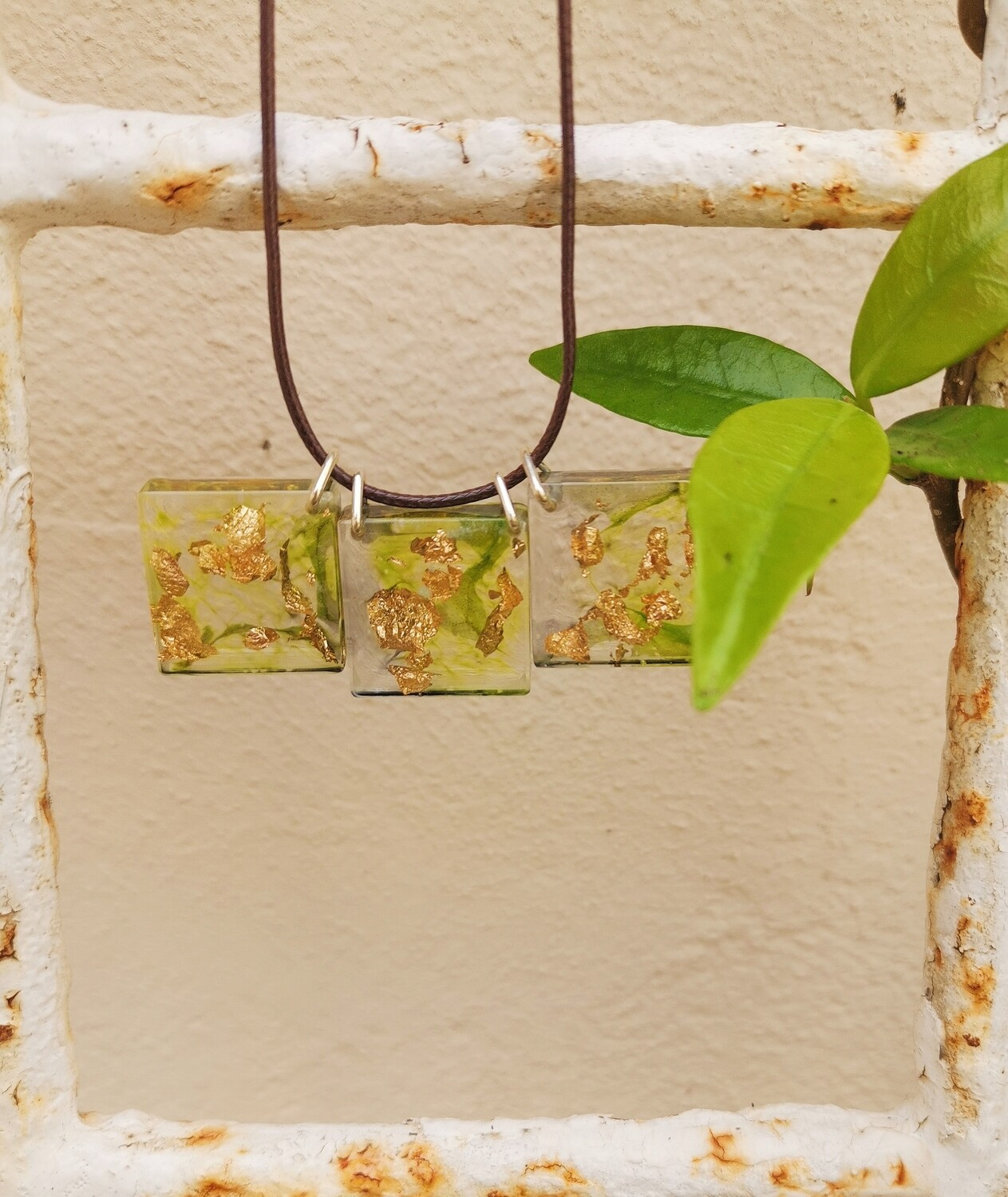 Green Ink and Gold Leaf Resin Necklace