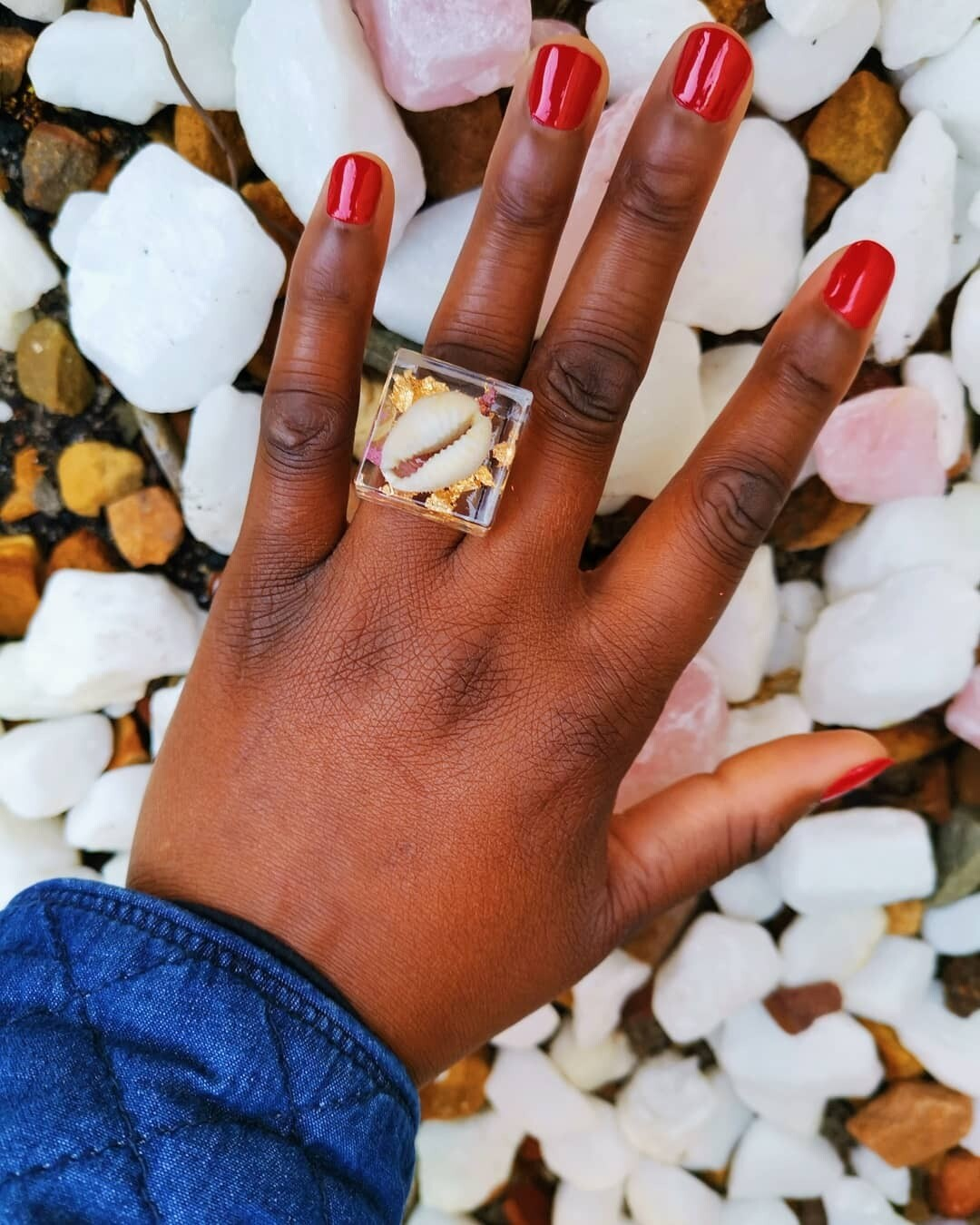 Cowrie Shell, Gold Leaf and Bougainvillea Ring
