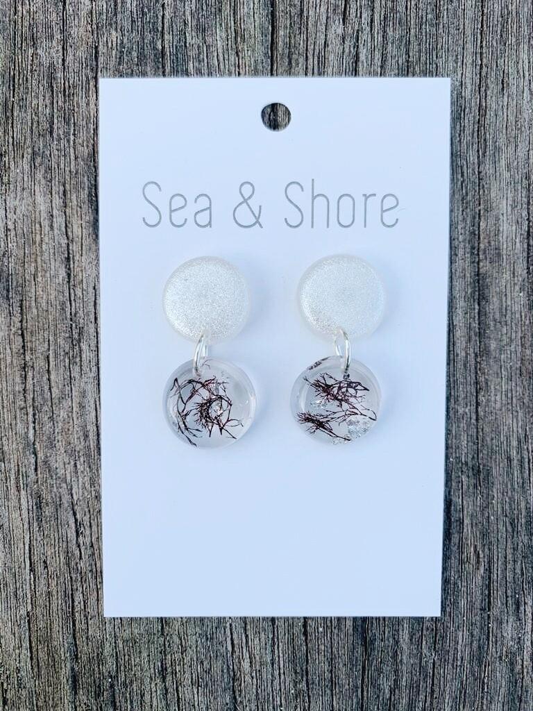 Seaweed and Silver leaf Earrings