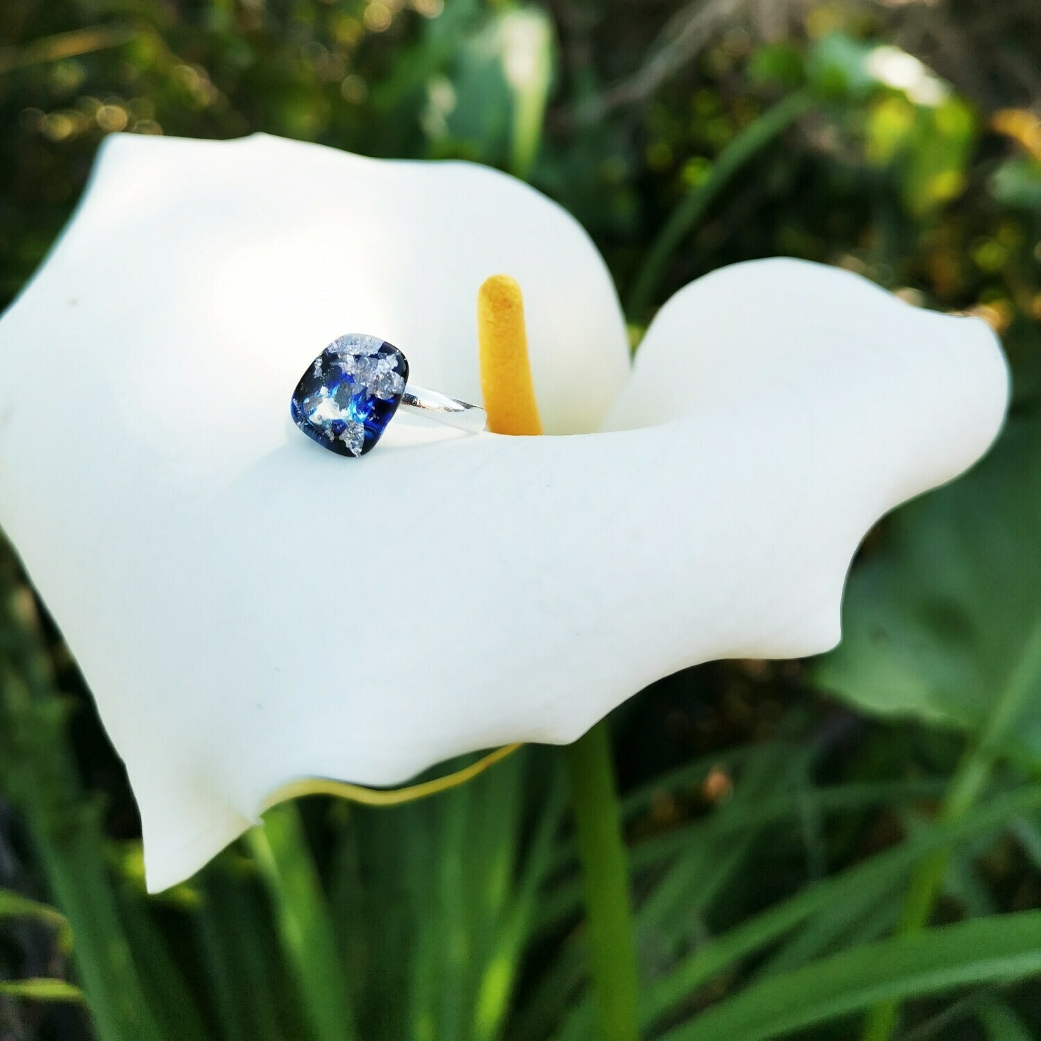 Royal Blue and Silver Leaf Ring