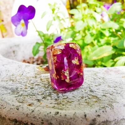Bougainvillea & Gold Leaf Ring