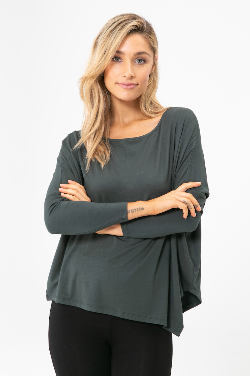 Relaxed Boatneck Top - Forest