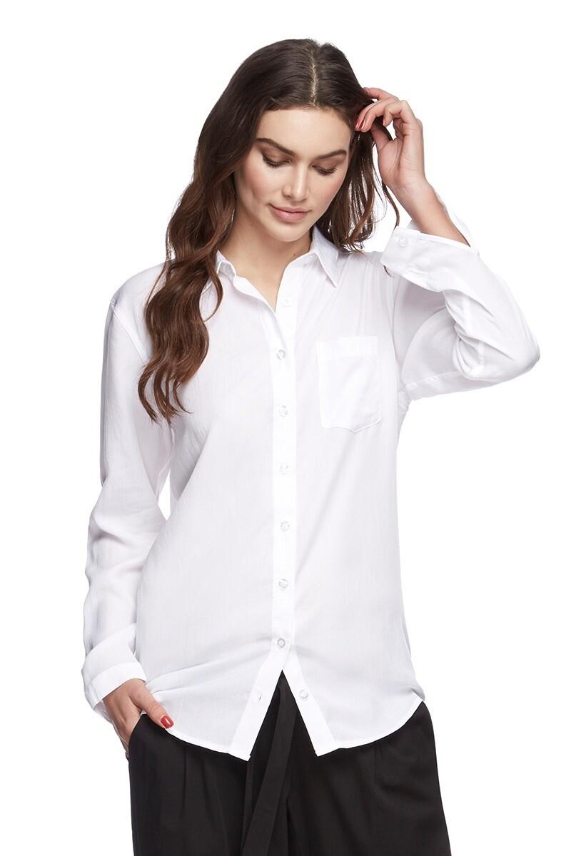 Long Sleeve Woven Bamboo Shirt - White