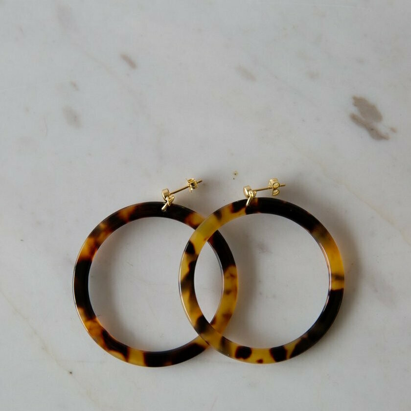 Hoop Stud Earrings - Torty Dark