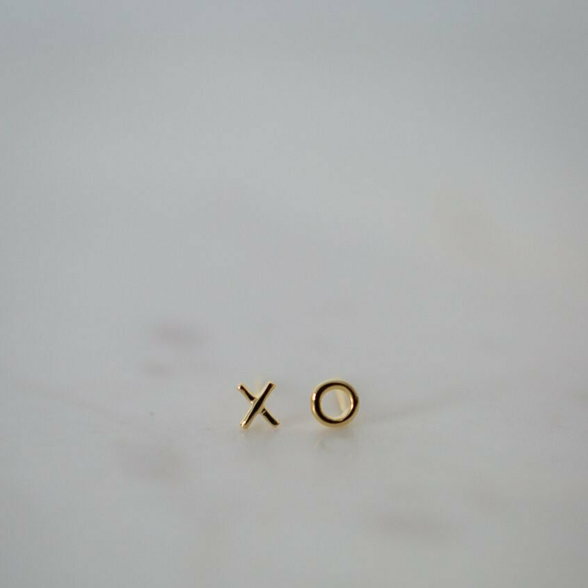 Ex Oh Stud Earrings - 14kt Gold Plated
