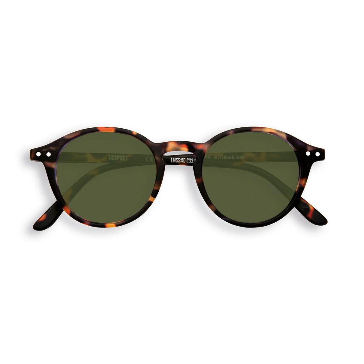 Sunglasses #D - Tortoise - Green Lens