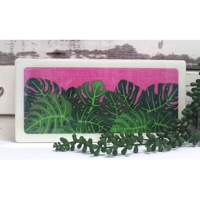 Plants on Pink Woodblock - Monstera