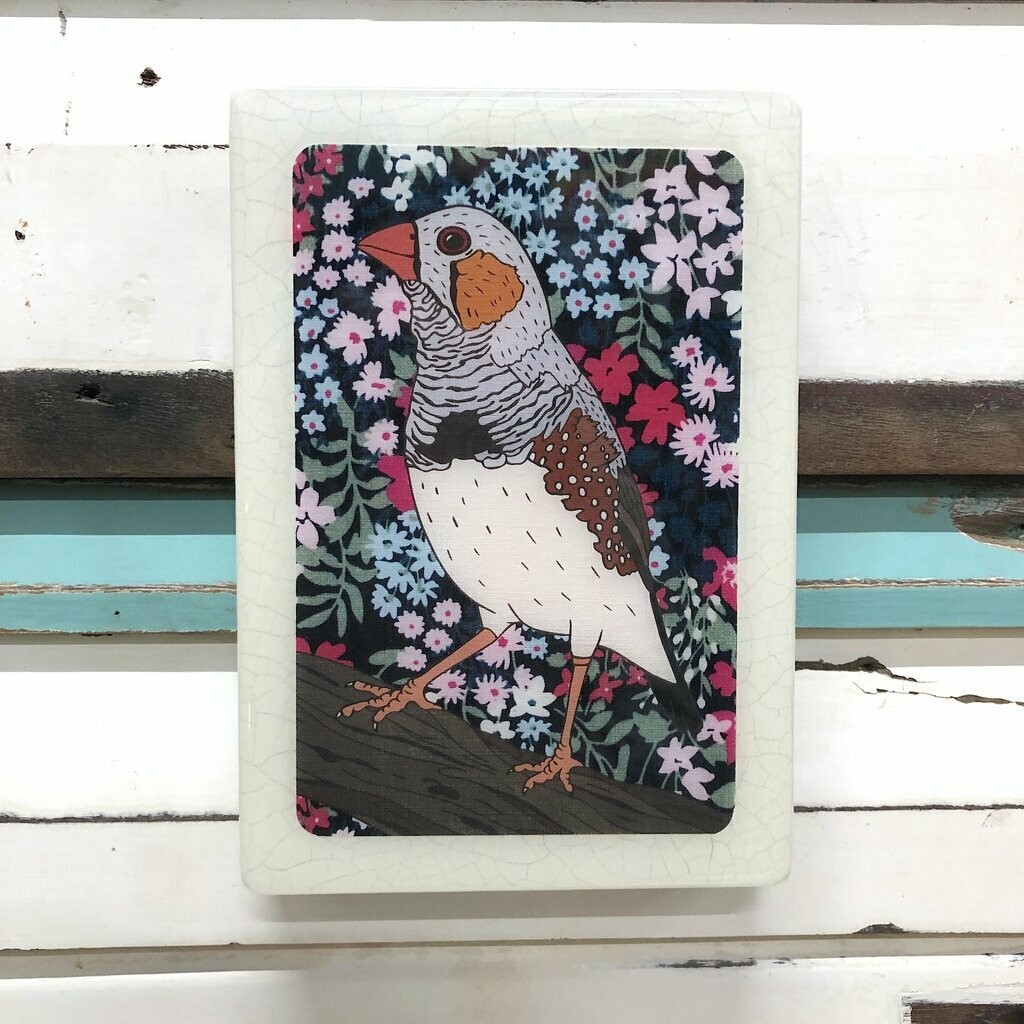 Medi Woodblock - Zebra Finch