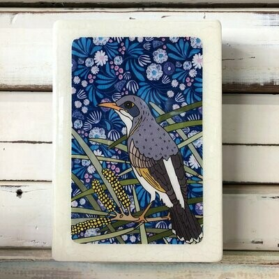 Medi Woodblock - Miner Bird & Mulga