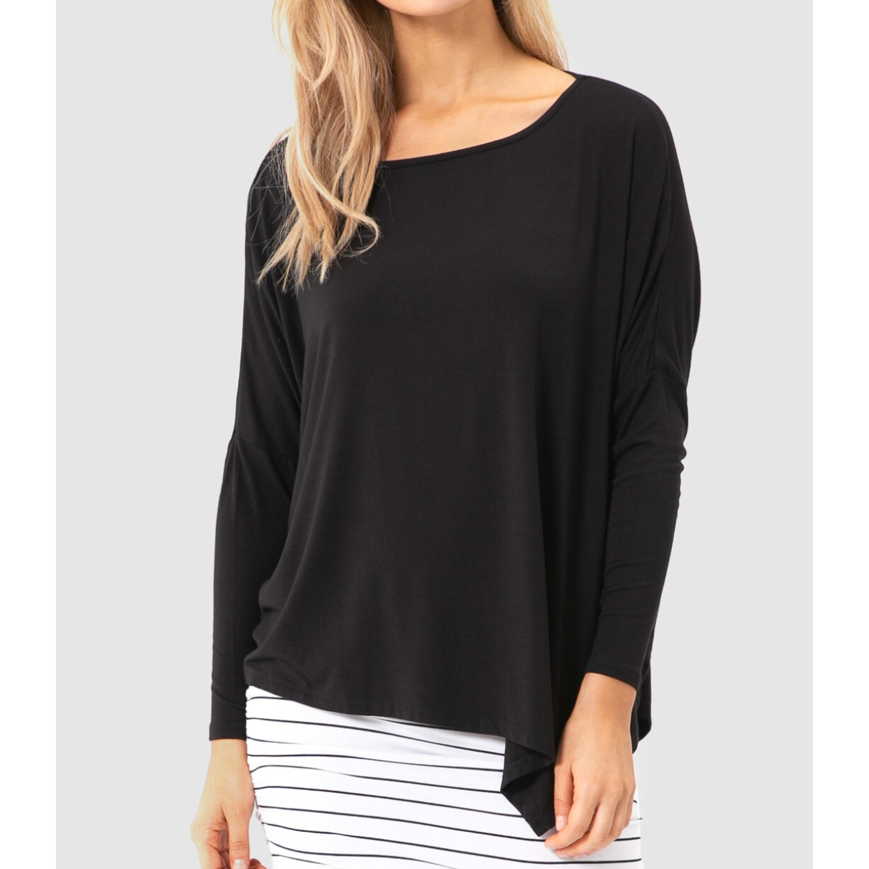 Relaxed Boatneck Top - Black