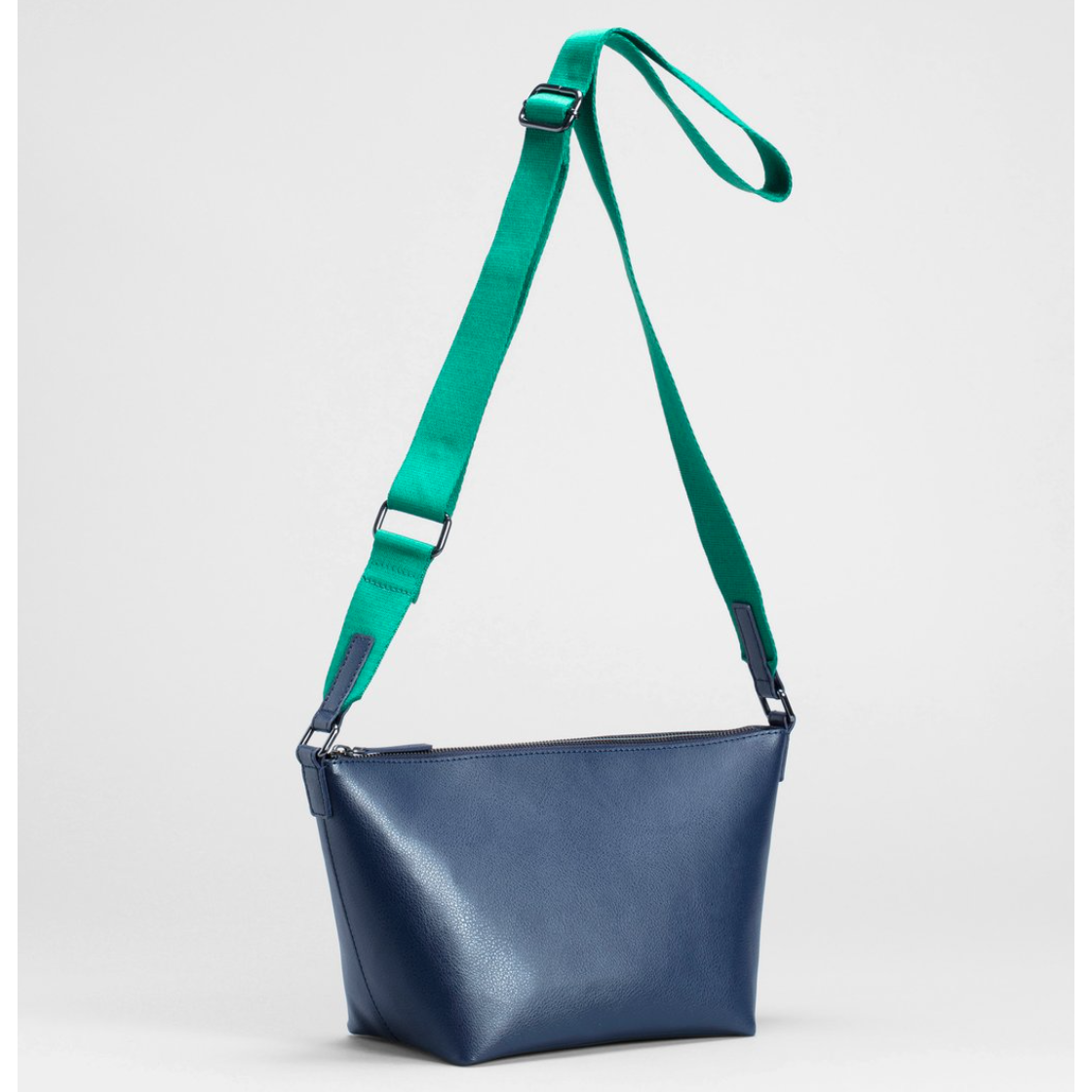 Leni Small Bag - Navy/Green - 100% recycled leather