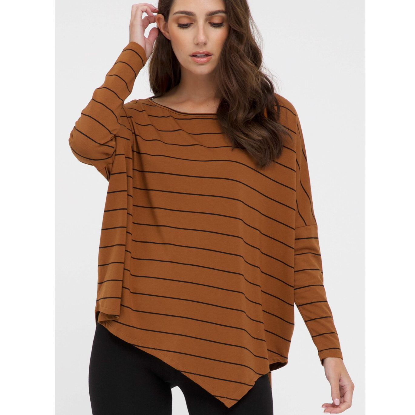 Relaxed Boatneck Top - Ginger Stripe