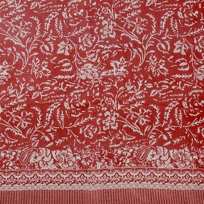 Maggie Hand Printed Large Scarf - 100% Silk - Rust
