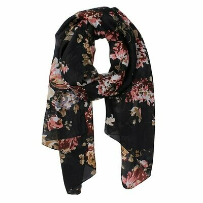Anisley Flower Printed Scarf - 100% Silk